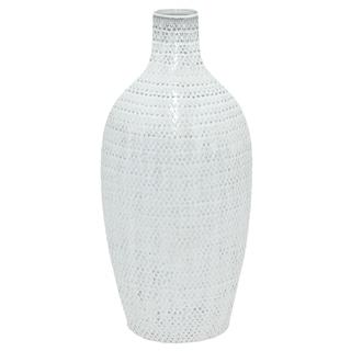 Three Hands Glazed White Ceramic Vase