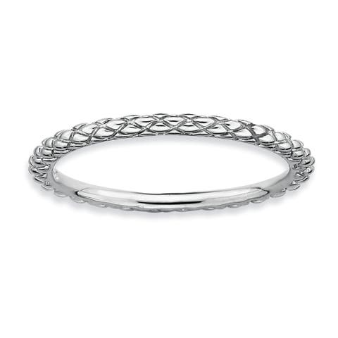 Sterling Silver Affordable Expressions Rhodium Criss-cross Ring
