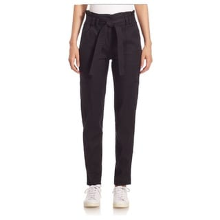 Lee A.L.C. Women's Navy Linen Paper Bag Pants