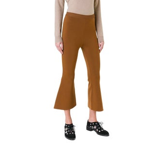 Stella McCartney Women's Rust Wool-blend Wide-leg Cropped Flare Pants