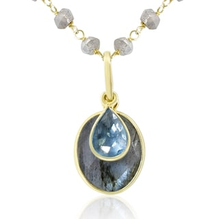 15 Carat Blue Topaz and Labradorite Necklace In 14K Yellow Gold