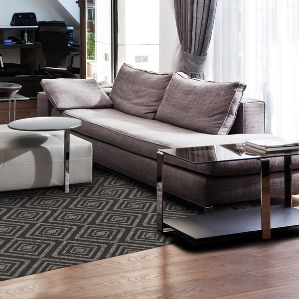 RUGGABLE Washable Indoor/ Outdoor Stain Resistant Pet Area Rug Prism Black  (5u0026#x27