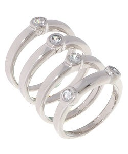 Sterling Essentials Sterling Silver Cubic Zirconia Stackable Ring
