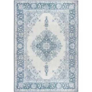 RUGGABLE Washable Indoor/ Outdoor Stain Resistant Pet Area Rug Parisa Blue (5' x 7') - 5' x 7'