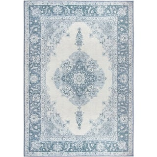 RUGGABLE Washable Indoor/ Outdoor Stain Resistant Pet Area Rug Parisa Blue - 5' x 7'