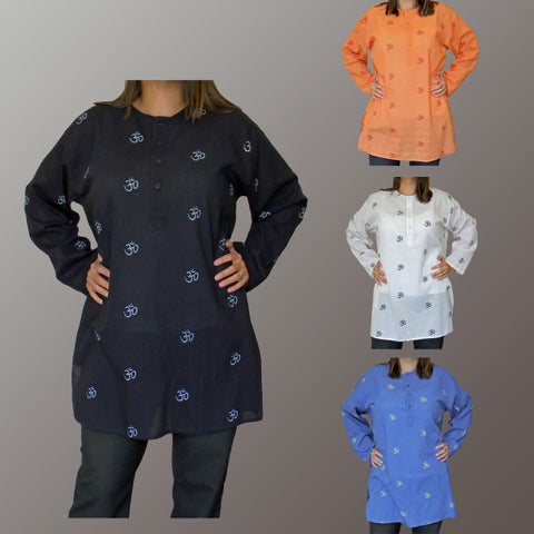 Handmade Casual Loose-fit Pullover-style Cotton Om Kurta (India)