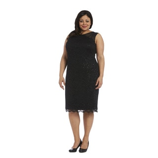 R&M Richards Women's Black Lace Plus-size Dress