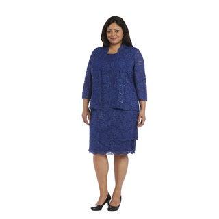 R&M Richards Women's Blue Plus-size Jacket Dress