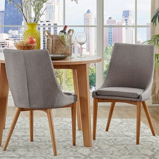 Sasha Oak Barrel Back Dining Chair by MID-CENTURY LIVING (Set of 2) in Twilight Blue(As Is Item)