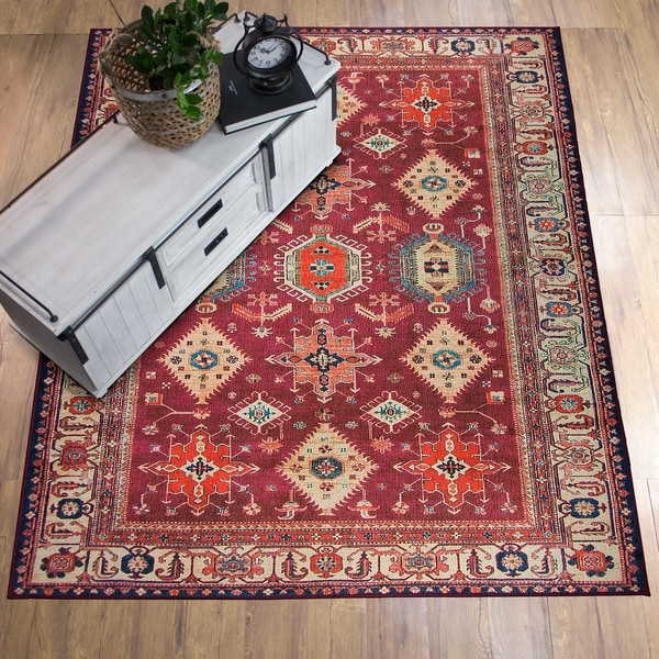 Shop Ruggable Washable Stain Resistant Pet Area Rug Noor Ruby 5 X