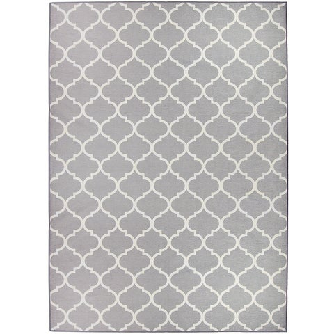 RUGGABLE Washable Indoor/ Outdoor Stain Resistant Pet Area Rug Moroccan Trellis Light Grey (5' x 7') - 5' x 7'