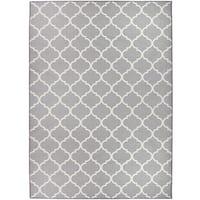 RUGGABLE Washable Indoor/ Outdoor  Stain Resistant Pet Area Rug Moroccan Trellis Light Grey - 5' x 7'