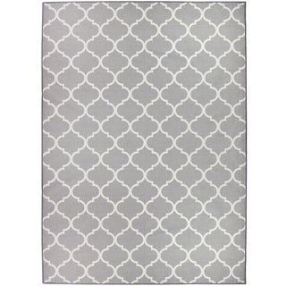 RUGGABLE Washable Indoor/ Outdoor Stain Resistant Pet Area Rug Moroccan Trellis Light Grey - 5' x 7'