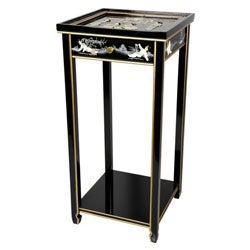 Handmade Black Lacquer Oriental Pedestal (China)