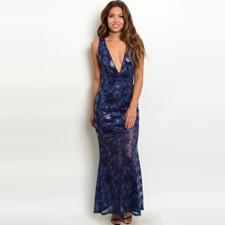 Shop The Trends Women's Sleeveless Sequins Gown With Plunging Neckline And Back Zipper Closure