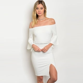 Shop The Trends Women's 3/4 Bell Sleeve Midi Dress With Off Shoulder Design And Embellished Waist