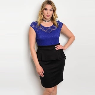 Shop The Trends Women's Plus Size Cap Sleeve Peplum Dress With Lace Bodice And Round Neckline