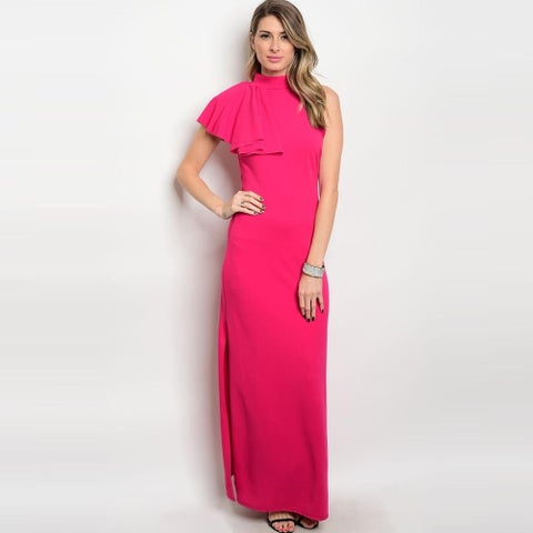 Shop The Trends Women's One Shoulder Gown With Mock Neckline And Ruffled Single Shoulder