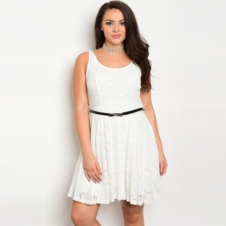 Shop The Trends Women's Plus Size Sleeveless Fully Lined Lace Dress With Skinny Belt And Scoop Neckline