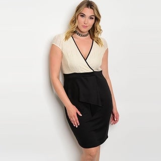 Shop The Trends Women's Plus Size Cap Sleeve Peplum Dress With Lace Bodice And V-Neckline
