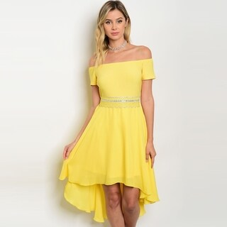 Shop The Trends Women's Off The Shoulder Short Sleeve Chiffon Dress With Empire Waist And High Low Hem