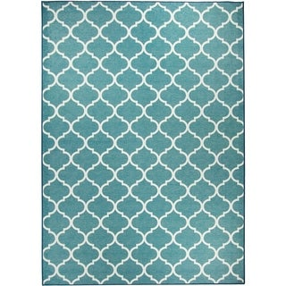 Ruggable Washable Indoor/ Outdoor Stain Resistant Pet Area Rug Moroccan Trellis Teal (5' x 7') - 5' x 7'