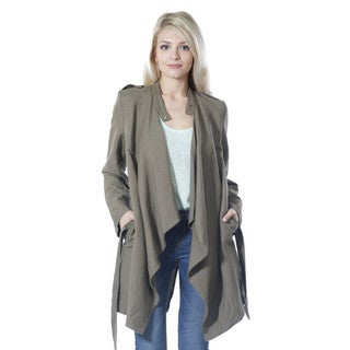 JED Women's Waterfall Casual Trench Jacket with Self Tie Belt