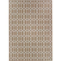 Ruggable Washable Indoor/ Outdoor Stain Resistant Pet Area Rug Modern Fretwork Rich Tan and White (5' x 7') - 5' x 7'