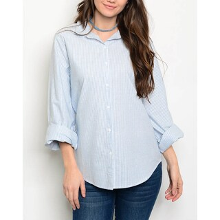 JED Women's Cotton Oversized Button Down Striped Boyfriend Shirt