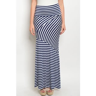 JED Women's Fold-over Waist Striped Maxi Skirt