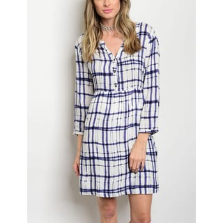 JED Women's Printed Button Up Shirt Dress with Smocked Waist and Back Tie