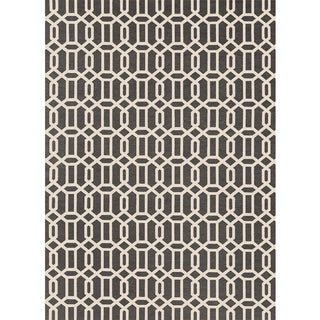 RUGGABLE Washable Indoor/ Outdoor Stain Resistant Pet Area Rug Modern Fretwork Rich Grey and White (5' x 7') - 5' x 7'