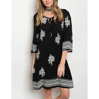 JED Women's 3/4 Sleeve Printed Black Tunic Dress