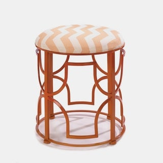 Zig-Zeg Orange Metal-Framed Upholstered Stools (2 options available)