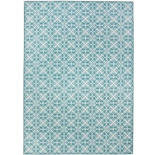 RUGGABLE Washable Indoor/ Outdoor Floral Tiles Aqua Blue and White Stain Resistant Area Rug (5' x 7')