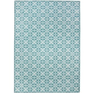 RUGGABLE Washable Indoor/ Outdoor Stain Resistant Pet Area Rug Floral Tiles Aqua Blue and White (5' x 7') - 5' x 7'