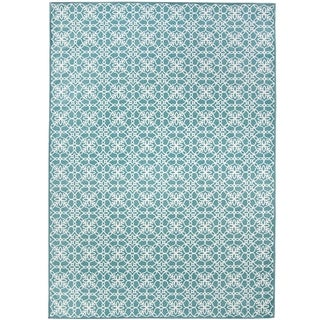 RUGGABLE Washable Stain Resistant Pet Area Rug Floral Tiles Aqua Blue and White - 5' x 7'