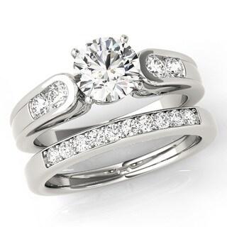 Scintilenora Curved Diamond Band GIA Certified Bridal Wedding Set 18k Gold 1 1/2 TDW