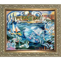 Alice Bailly 'Geneva Harbor' Hand Painted Framed Oil Reproduction on Canvas