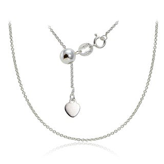 Mondevio Silver 1.5 mm Rolo Adjustable Chain Necklace