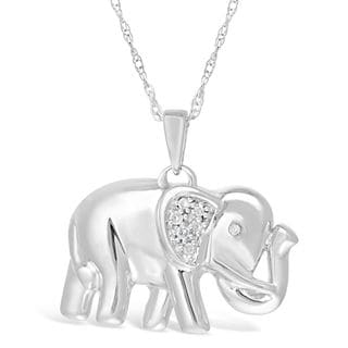 Sterling Silver Elephant Pendant with Diamond Accent