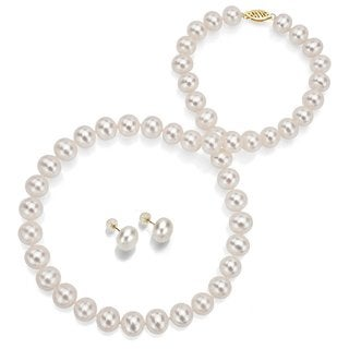 "DaVonna 14k Yellow Gold 10-10.5mm White Semiround Freshwater Pearl Necklace 18"" and Stud Earrings Set"