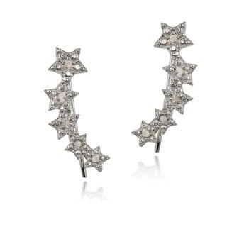 DB Designs Sterling Silver 1/10ct TDW Diamond Graduating Star Crawler Earrings