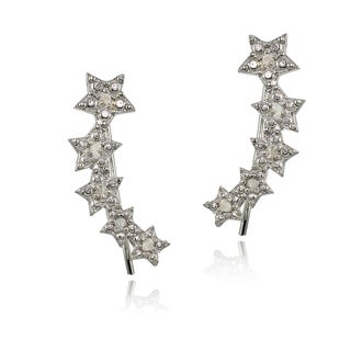 DB Designs Sterling Silver 1/10ct TDW Diamond Graduating Star Crawler Earrings