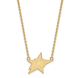 Sterling Silver with Gold Plating NHL LogoArt Dallas Stars Large Pendant with Necklace