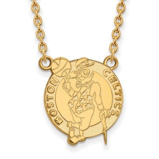 Gold Plated Boston Celtics Large Pendant with Necklace