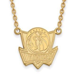 Gold Plated Dallas Mavericks Large Pendant with Necklace