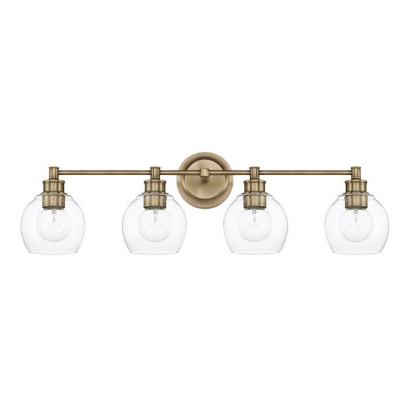 Shop Capital Lighting Mid-Century Collection 4-light Aged Brass Bath ...