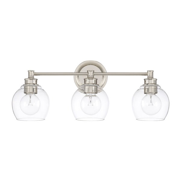 Capital Lighting Mid Century Collection Polished Nickel Glass/Steel 3 Light  Bath/