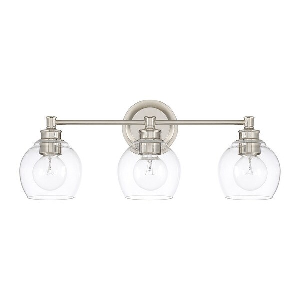 Capital Lighting Mid-century Collection Polished Nickel Glass/Steel 3-light Bath/  sc 1 st  Overstock.com : 3 light bathroom vanity light - www.canuckmediamonitor.org